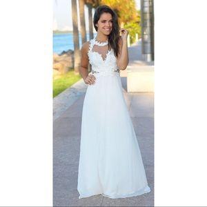 NWOT White Ivory Long Maxi Prom Wedding Dress